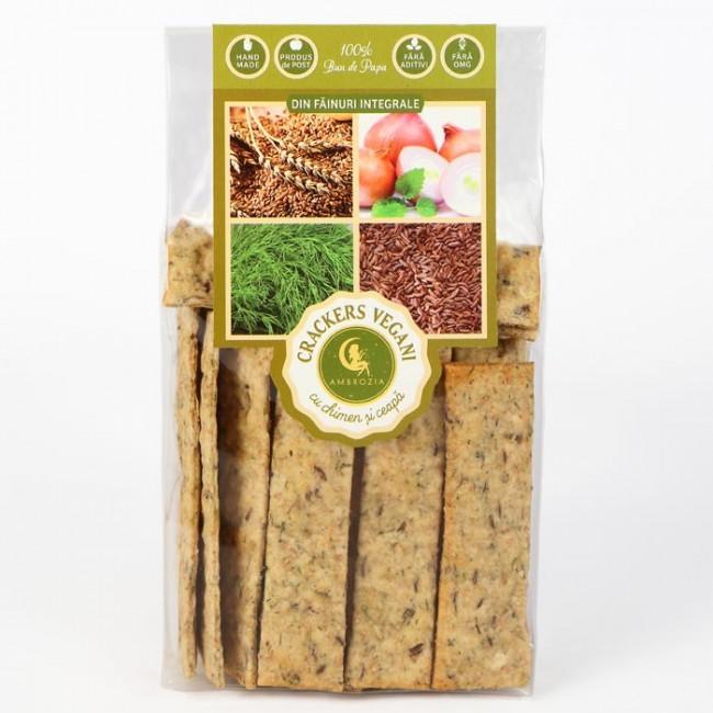 Crackers vegani cu chimen si ceapa