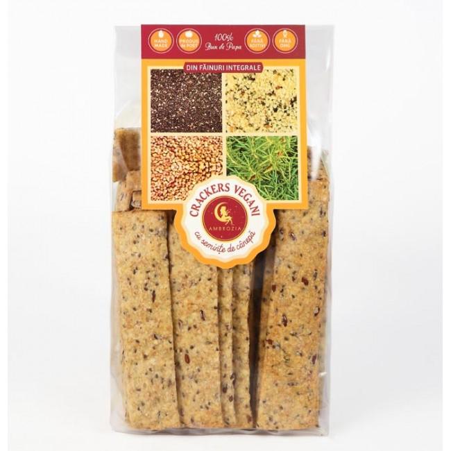 Crackers vegani cu seminte de canepa, in si chia