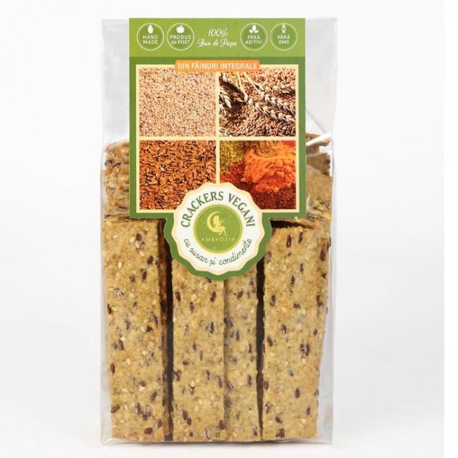 Crackers vegani cu susan si condimente