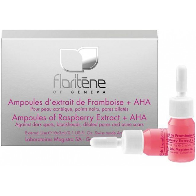 Floritene Fiole cu Extract de Zmeura + AHA (acizii de fructe),  3ml