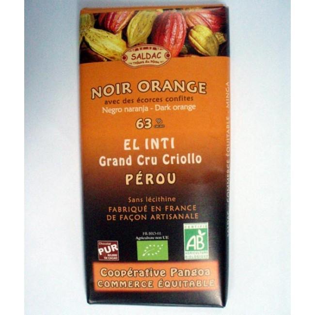 Ciocolata ecologica cu cacao Criollo 63% si portocala, fara lecitina
