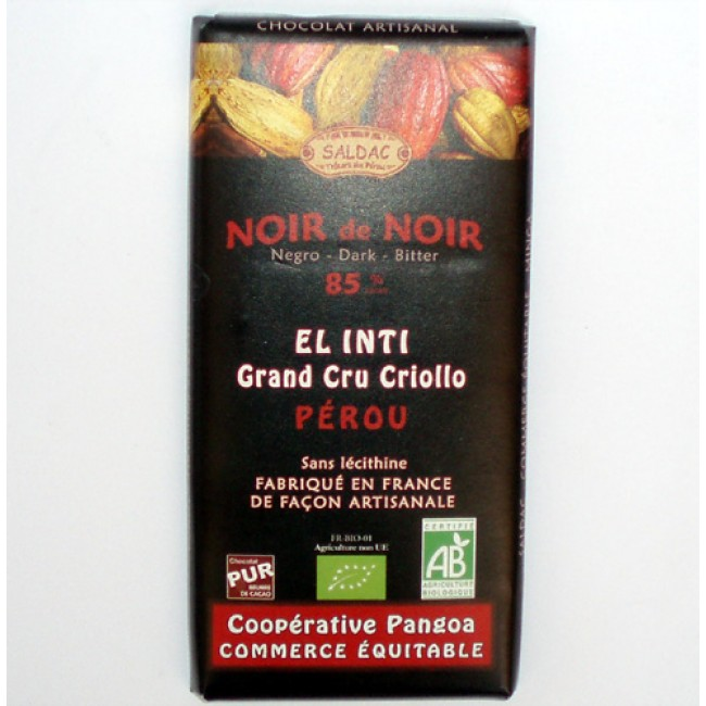 Ciocolata ecologica cacao 85% Peru, fara lecitina