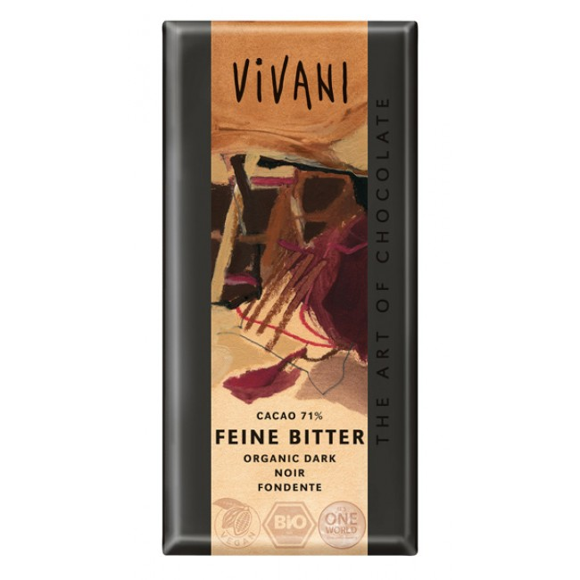 Ciocolata bio neagra cu 71% cacao, Vivani