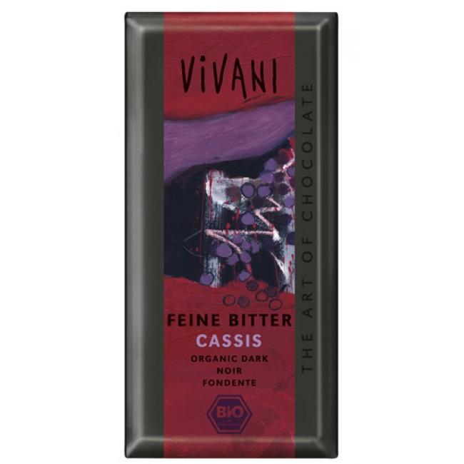 Ciocolata fina neagra cu coacaze, ecologica, Vivani