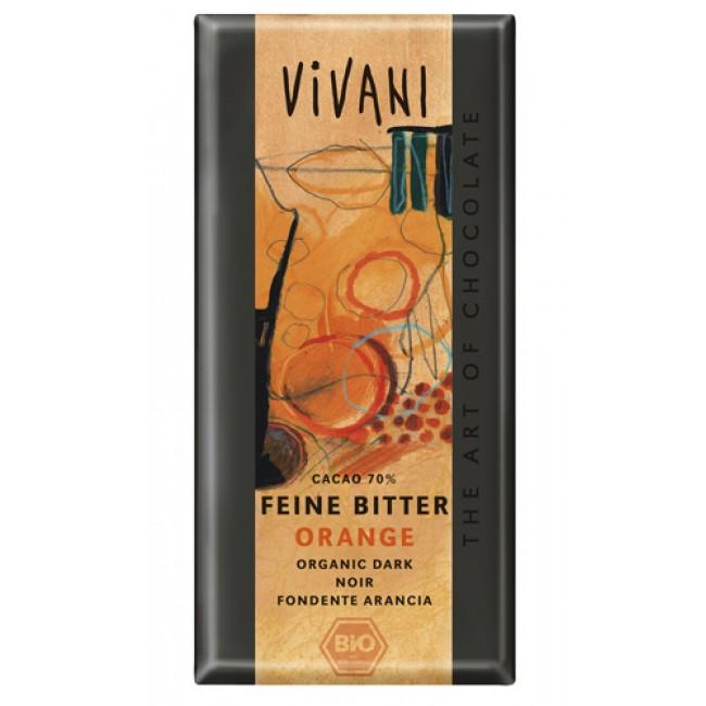 Ciocolata fina amaruie 70% cacao cu portocale, ecologica, Vivani