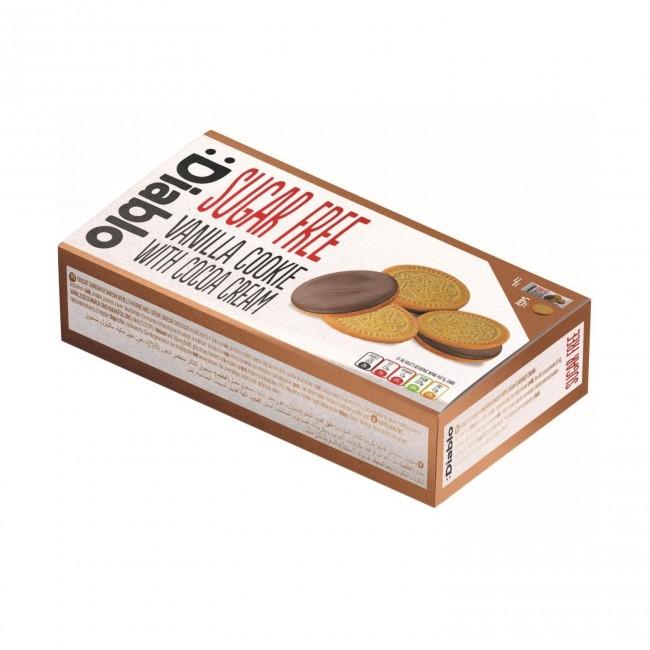 Biscuiti sandvis Diablo, fara adaos de zahar, cu aroma vanilie si crema cacao