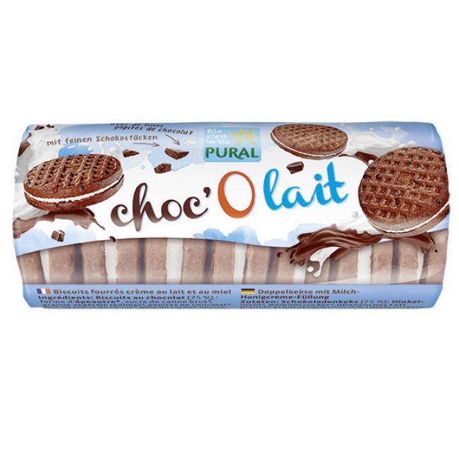 Biscuiti eco de ciocolata din spelta umpluti cu crema de lapte si miere