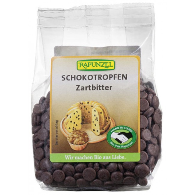 Picaturi de ciocolata amaruie bio Rapunzel HIH, vegan