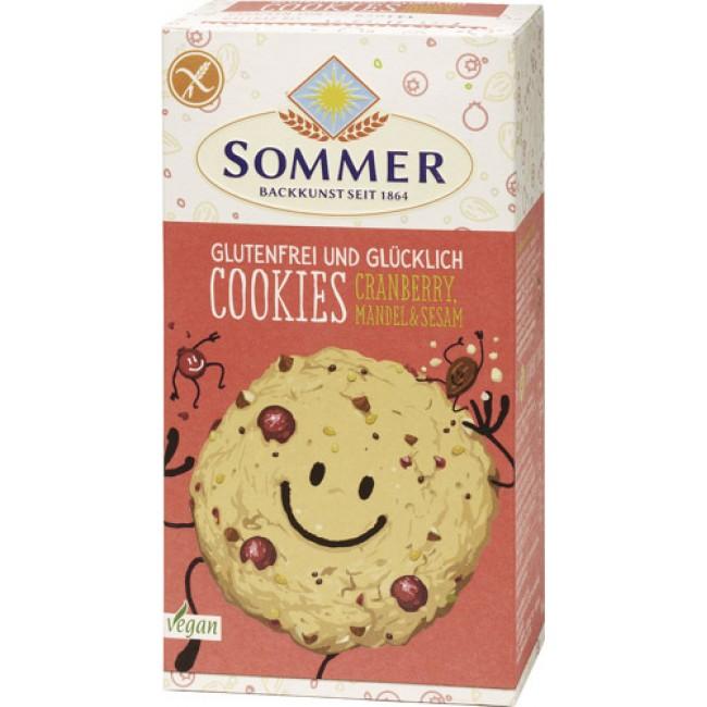 """Biscuiti """"Cookies"""" ecologici fara gluten cu merisoare, migdale si susan, Sommer"""