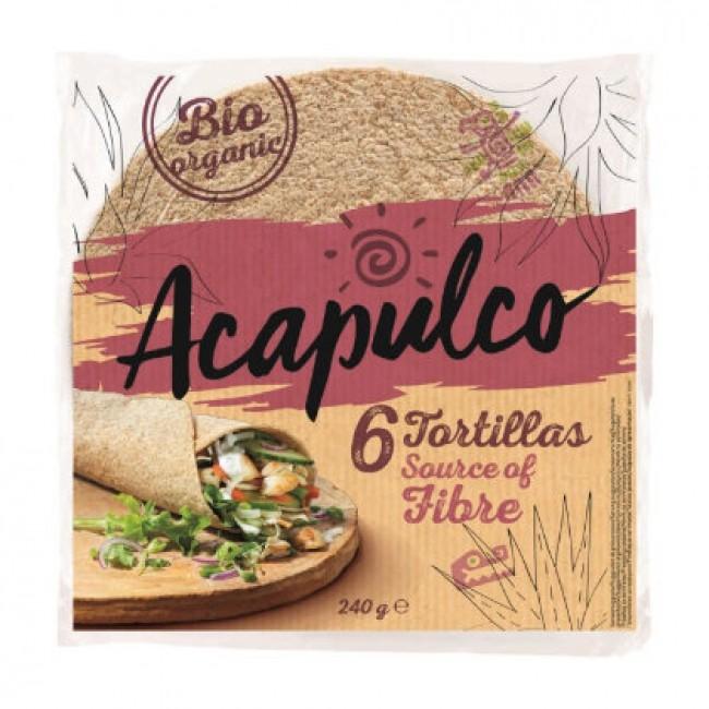 Lipii Tortilla bio cu tarate de grau Acapulco 6 bucati
