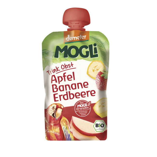 Smoothie ecologic din fructe, cu mere, banane si capsuni