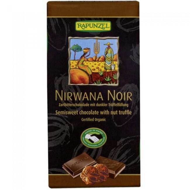 Ciocolata vegana ecologica neagra cu trufandale Nirwana 55% cacao,  Rapunzel