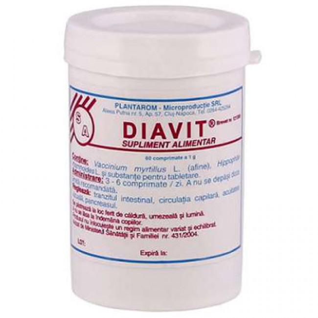 Diavit Vaccinium myirtillus, Hippophae şi rhamnoides, 60 cpr.