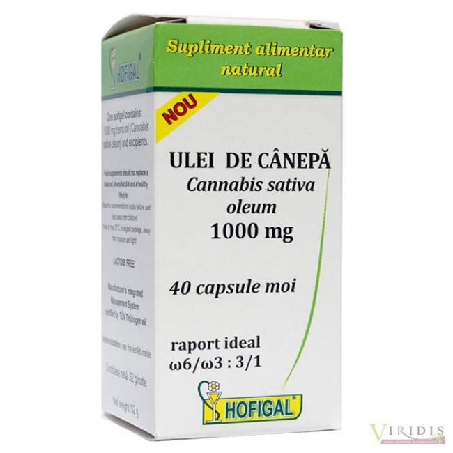 Ulei de canepa 1000mg 40cps. moi (sursă vegetală de acizi graşi Omega-3 şi Omega-6) Hofigal