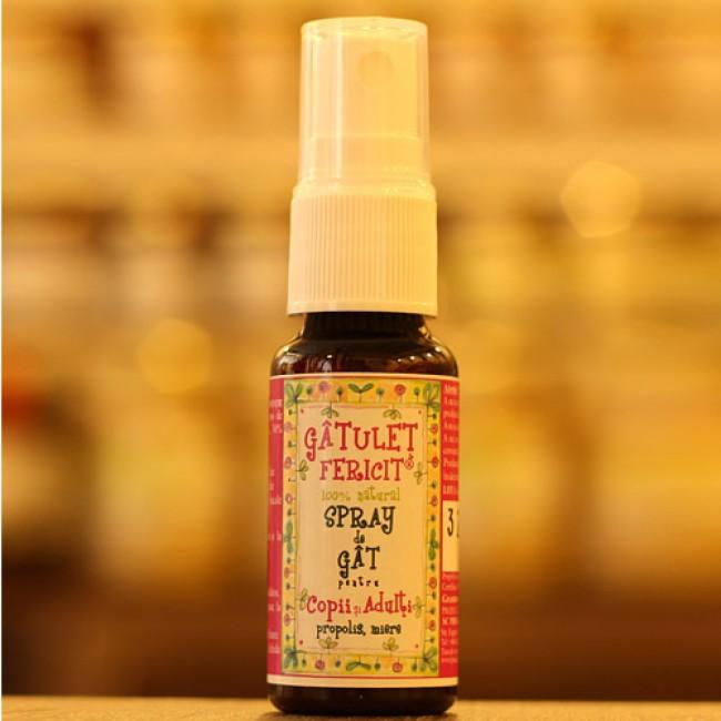 Gatulet Fericit - Spray de gat pentru copii şi adulti cu propolis si miere, 100% natural