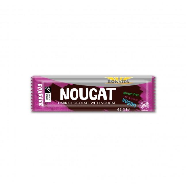 Bonvita - Baton de ciocolata neagra si nougat, fara gluten