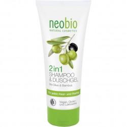 Sampon & gel de dus bio 2 in 1cu extract masline si bambus, neobio